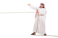 拔河概念的阿拉伯人 免版税库存照片