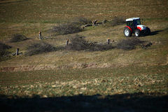 拖拉机和一些砍树 免版税库存照片