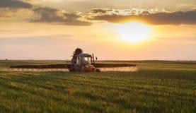 拖拉机喷洒的庄稼的农夫 免版税库存图片