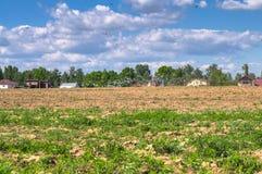 拖拉机在一个明亮的晴天犁领域 农村春天横向 免版税库存图片