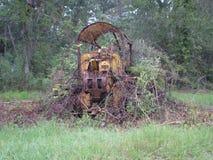 拖拉机增长在摒弃丢失了生锈推土机的自然 免版税图库摄影