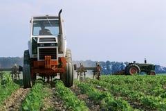 拖拉机骑马通过域 免版税图库摄影