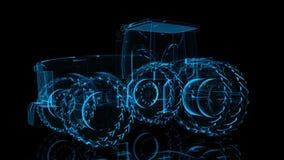 拖拉机 式样大卡车的黑和蓝色亮光形成360度转动 4k X-射线动画 库存例证