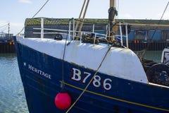 拖网渔船在小港口在Portavogie阿兹半岛村庄在唐郡,北爱尔兰 免版税库存照片