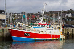 拖网渔船德弗Ar平均观测距离在Kinsale港口靠了码头在爱尔兰的南海岸的科克郡 免版税图库摄影