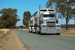 拖车在农村路的半公路运输 图库摄影