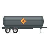 拖车油 在平的样式的例证在白色背景 免版税库存照片