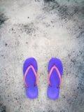 拖鞋/触发器/阵雨凉鞋在紫色和桃红色颜色在水泥地板上 拷贝空间为增加文本在上面 免版税库存照片