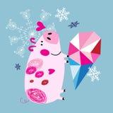招呼与一头猪的圣诞卡片在爱 皇族释放例证