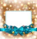 招呼与圣诞节装饰的典雅的看板卡 免版税库存照片