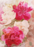 招呼与牡丹的花卉卡片 免版税库存图片