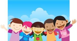 招呼愉快的孩子 免版税库存图片