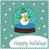 招呼或祝贺的卡片蓝色背景 免版税库存照片