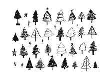招呼手拉的传染媒介摘要圣诞快乐和新年快乐动画片的例证汇集集合用手 库存例证