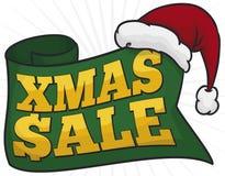 招呼的丝带和宣布圣诞老人的帽子圣诞节销售,传染媒介例证 库存例证