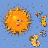 招呼的动物太阳 免版税图库摄影