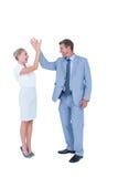 招呼的商人和的女实业家 免版税库存图片