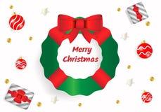 招呼的圣诞快乐在白色背景中文本 使用与红色丝带弓、礼物盒、银色星和红色球的绿色杉树 库存例证