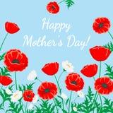 招呼看板卡的日愉快的母亲 红色鸦片和白色春黄菊例证 在蓝色的传染媒介花 花卉自然背景 免版税库存图片
