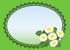 招呼看板卡的雏菊草坪 免版税库存图片