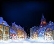 招呼看板卡的cristmas 克里斯的美妙的积雪的镇 皇族释放例证