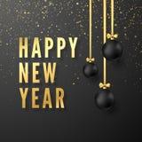 招呼黑暗的背景的金黄文本新年快乐 垂悬在金黄丝带的黑圣诞节球 也corel凹道例证向量 向量例证