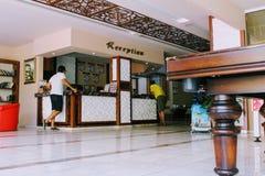 招待会在Kleopatra海滩旅馆阿拉尼亚,土耳其 图库摄影