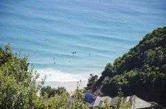 拜伦海湾的澳大利亚Longboard冲浪者 免版税库存照片