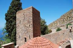 拜占庭式的修道院,蒂洛斯岛海岛 免版税库存图片