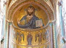拜占庭式的基督Pantocrator马赛克,中央寺院, Cefalu,西西里岛,意大利 库存图片