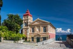 拜占庭式的教会在Corfu城镇 免版税库存照片