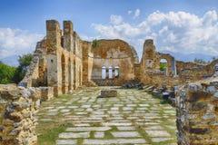 拜占庭式的教会希腊prespes废墟 库存照片