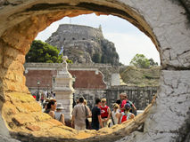 拜占庭式的corfu堡垒老tourits城镇访问 免版税图库摄影