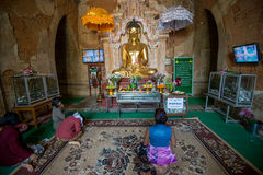 崇拜在Bagan 免版税库存图片