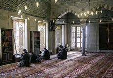 崇拜蓝色清真寺仪式在祷告,伊斯坦布尔,土耳其人集中了 免版税库存照片
