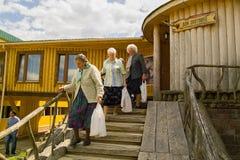 拜访世界大战2徒步旅行队公园的退伍军人在俄罗斯的卡卢加州地区 库存图片