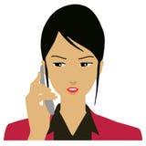 拜访电话的女商人 免版税库存照片