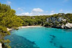 拜雷阿尔斯海滩海岛macarella menorca西班牙 免版税库存图片
