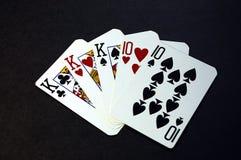 拟订三张相同和二张相同的牌 免版税库存照片