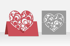 拟订与圆的样式的心脏激光切口的 剪影 库存图片