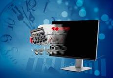 拟订商务计算机概念赊帐e现有量关键董事会 有购物车移动的计算机 库存图片