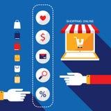 拟订商务计算机概念赊帐e现有量关键董事会 选择产品的人通过互联网商店买或卖 向量例证