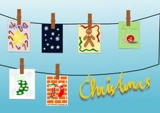 拟订塑造彩色塑泥的圣诞节图画 库存照片
