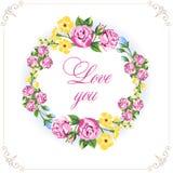 拟订日例证邀请s华伦泰向量葡萄酒婚礼 花卉花圈土气样式 柔和的花 免版税库存图片