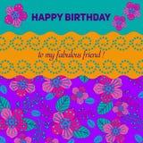 拟订祝贺邀请 愉快的生日 用花装饰 免版税库存图片
