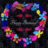 拟订祝贺邀请 愉快的生日 用花装饰 图库摄影