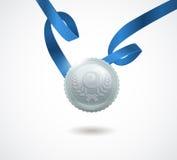 拥护与丝带的银牌在白色背景 也corel凹道例证向量 免版税图库摄影