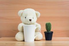 拥抱一个杯子和仙人掌在棕色木背景的白熊 免版税库存照片