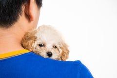 拥抱一只逗人喜爱的长卷毛狗小狗的少年 图库摄影