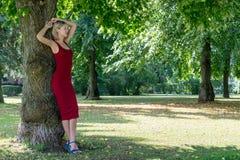 拥抱一棵树的白肤金发的妇女在公园 休息本质上的一件红色礼服的女孩,倾斜反对树 免版税库存照片